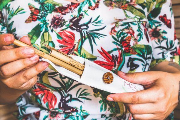 Bambus Trinkröhrchen Travelset 2 Stück mit Reinigungsbürste