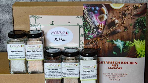Salzbox, Natursalze, Geschenkbox + 1 Masawi Rezeptheft,