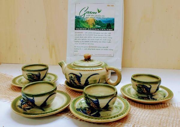 Geschenk Set Grüner Tee aus Vietnam + Teeservice
